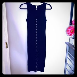 Black Sleeveless Midi Dress w/ Front Slit-M *F508*